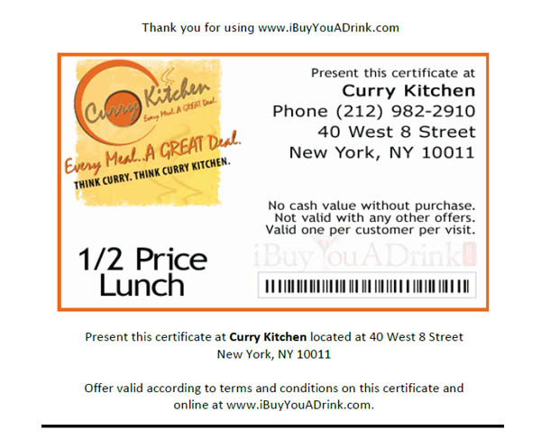 NYC Restaurant Discounts Half Price Lunch at Curry Kitchen NYC